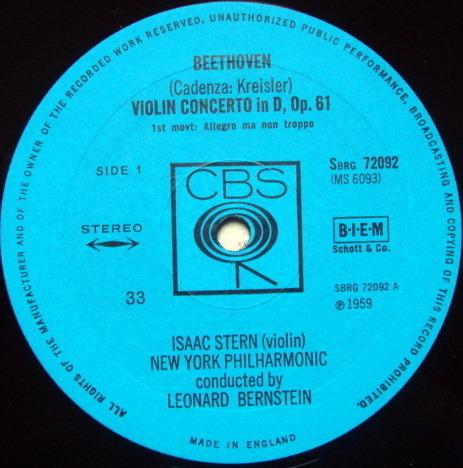 Columbia UK / STERN-BERNSTEIN, - Beethoven Violin Concerto, NM, UK Pressing!