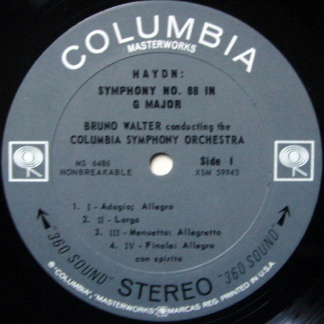 Columbia 2-EYE / BRONO WALTER, - Haydn Symphonies No.88 & 100 Military, NM!