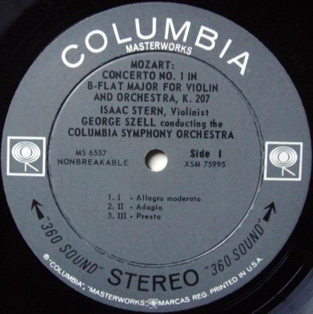 Columbia 2-EYE / STERN-SZELL, - Mozart Violin Concertos No.1 & 5, NM!