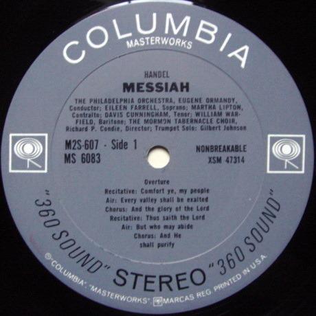 Columbia 2-EYE / ORMANDY, - Handel Messiah, NM, 2 LP Set!