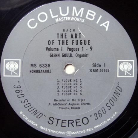 Columbia 2-EYE / GLENN GOULD, - Bach The Art of the Fugue, VG+!
