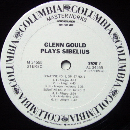 Columbia / GLENN GOULD, - Sibelius Three Sonatines, NM, White Promo Copy!
