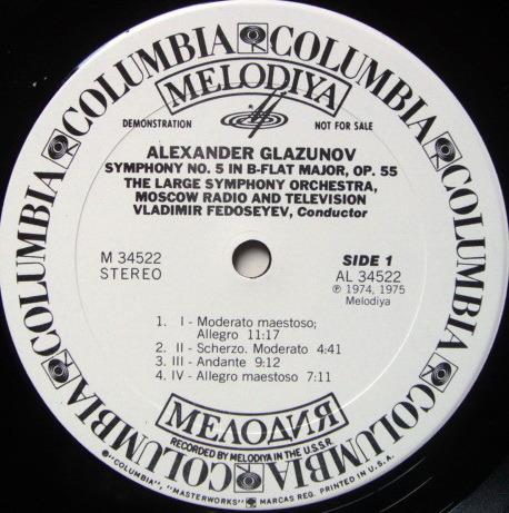 Columbia Melodiya / FEDOSEYEV, - Glazunov Symphony No.5, NM, White Promo Copy!