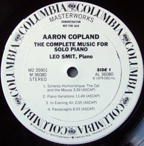 CBS / LEO SMIT, - Copland The Complete Music for Solo Piano, NM, 2LP White Promo Set!