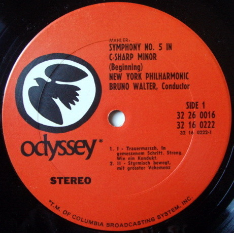 Columbia Odyssey / BRUNO WALTER, - Mahler Symphony No.5, Kindertotenlieder, NM, 2LP Box Set!