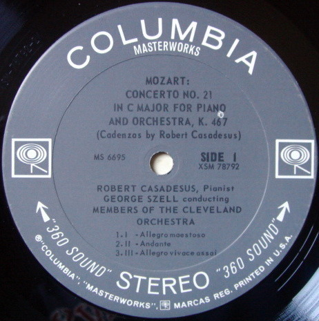 Columbia 2-EYE / CASADESUS-SZELL, - Mozart Piano Concertos No.21 & 24, NM!