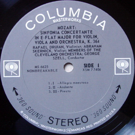 Columbia 2-EYE / DURIAN-SZELL, - Mozart Sinfonia Concertante, NM!