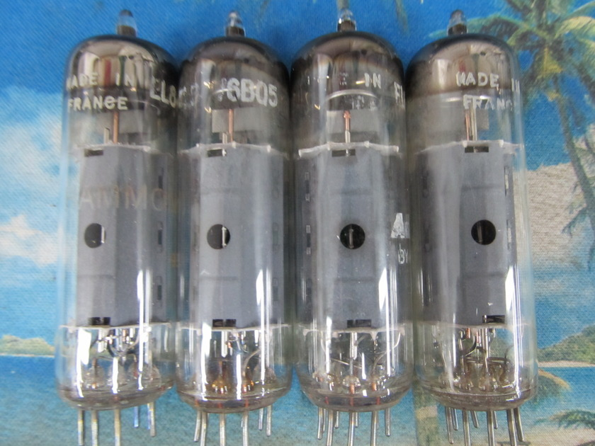 4 AMPEREX EL84/6BQ5 VINTAGE POWER TUBES, MADE IN FRANCE,  1960s, EX SOUND, TEST STRONG