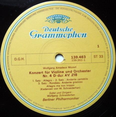 DGG / SCHNEIDERHAN-BPO, - Mozart Violin Concertos No.4 & 5, NM, French Press!