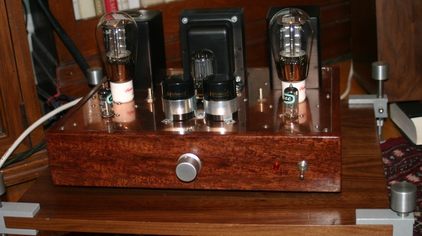 James Burgess 45 SET Custom Tube Int/Power Amp Bubinga & Copper Chassis,  Deluxe parts, package, $1000 vtg. tubes incl.  2011 build, FREE SHIPPING