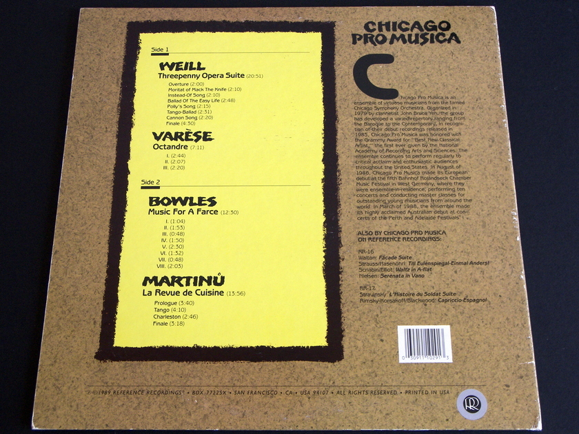Reference Recordings [RR-29] - Chicago Pro Musica Prof. Johnson pure analog recording