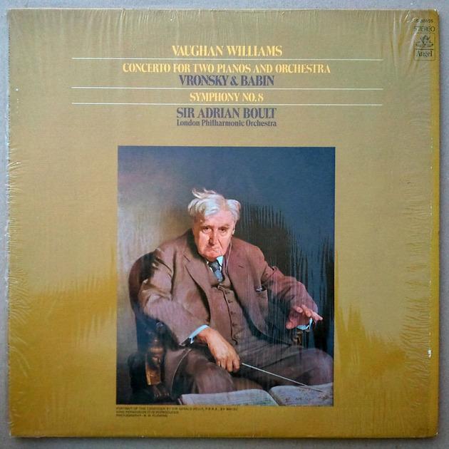 ANGEL   BOULT/VAUGHAN WILLIAMS - Symphony No. 8, Concerto for 2 Pianos & Orchestra / EX