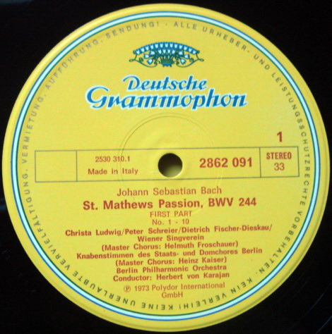 DG / KARAJAN-BPO, - Bach St. Matthew Passion, NM, 4LP Box Set!