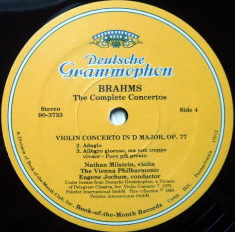 DG / GILRELS-MILSTEIN-SCHNEIDERHAN-STARKER - ,Brahms The Complete Concertos, NM, 4LP Set!