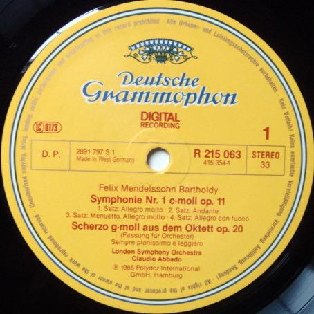 DG Digital / CLAUDIO ABBADO, - Mendelssohn 5 Symphonies, NM, 4LP Box Set!