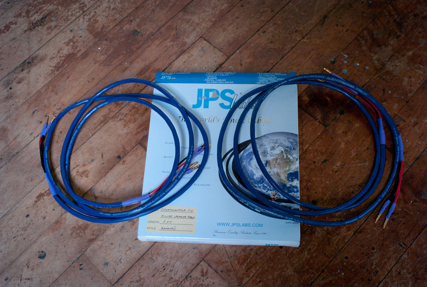 JPS Labs Superconductor FX Biwire Speaker Cables 8' w/Banana Connections Bi Wire Mint Condition!