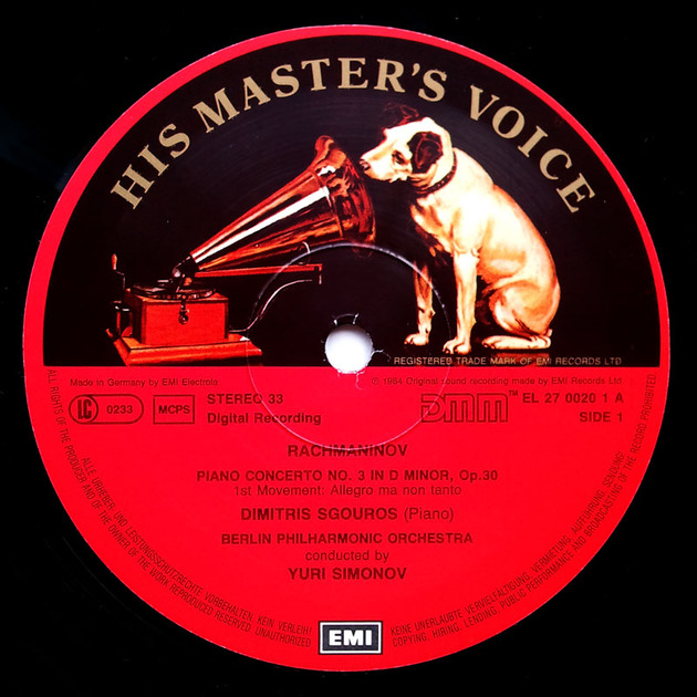 EMI HMV | SGOUROS/RACHMANINOFF - Piano Concerto No. 3 / NM