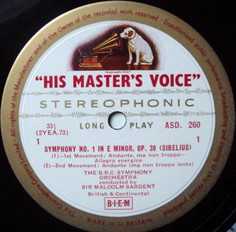 ★1st Press★ EMI ASD WHITE & GOLD / SARGENT, - Sibelius Symphony No 1, NM-!