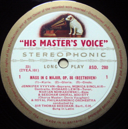 ★1st Press★ EMI ASD WHITE & GOLD / BEECHAM, - Beethoven Mass in C, NM!