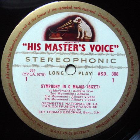 ★1st Press★ EMI ASD WHITE & GOLD / BEECHAM, - Bizet-Lalo Symphonies, NM!