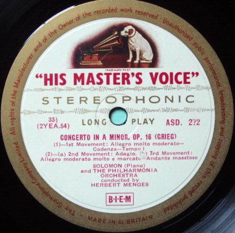 ★1st Press★ EMI ASD WHITE & GOLD / SOLOMON-MENGES, - Grieg-Schumann Piano Concertos, VG+~EX!