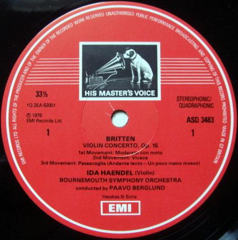 EMI ASD STAMP-DOG / IDA HAENDEL, - Britten-Walton Violin concertos, NM!