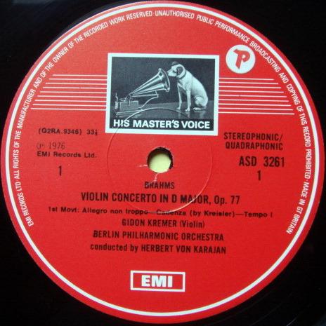 EMI ASD STAMP-DOG / GIDON KREMER, - Brahms Violin Concerto, NM!