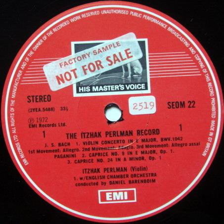 EMI ASD STAMP-DOG / ITZHAK PERLMAN, - The Itzhak Perlman Record, NM, Promo Copy!
