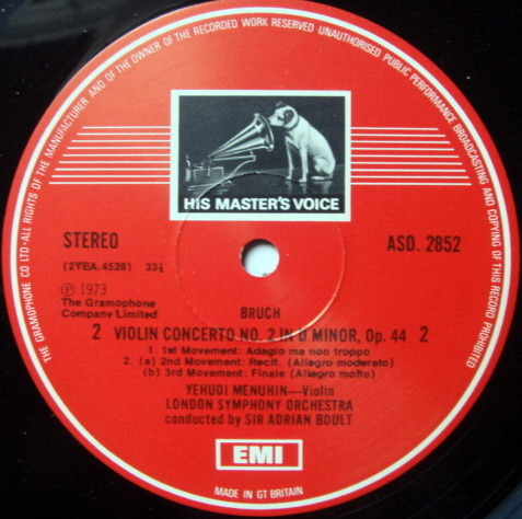 EMI ASD STAMP-DOG / MENUHIN-BOULT, - Bruch Violin Concerts No.1 & 2, NM!
