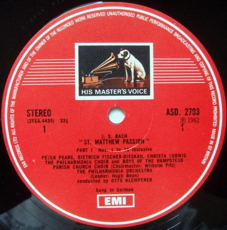 EMI HMV STAMP-DOG / KLEMPERER, - Bach St. Matthew Passion, NM, 4LP Box Set!