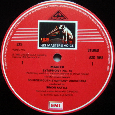EMI ASD STAMP-DOG / RATTLE, - Mahler Symphony No.10, NM, 2LP Box Set!
