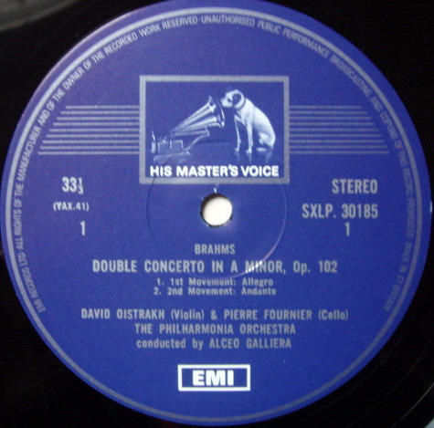 EMI HMV STAMP-DOG / OISTRAKH-FOURNIER, - Brahms Double Concerto, NM!