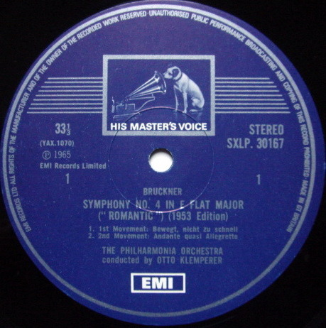 EMI HMV STAMP-DOG / KLEMPERER, - Bruckner Symphony No.4 Romantic, NM!