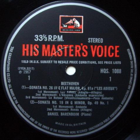 EMI HMV HQS / BARENBOIM, - Beethoven Piano Sonatas No.19, 26 & 32, NM!