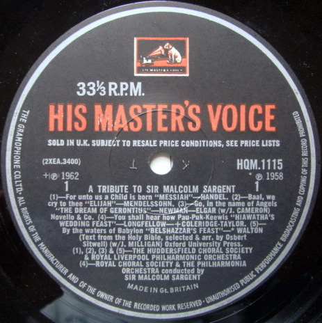 EMI HMV HQM /  - A Tribute to Sir Malcolm Sargent, NM-!