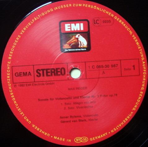 EMI HMV / ANNER BYLSMA, - Reger Cello Sonata No.3, NM!