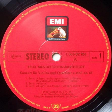 EMI HMV / MENUHIN-DE BURGOS, - Mendessohn Violin Concerto, NM!