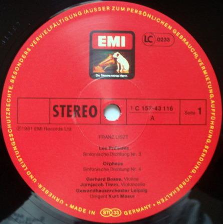 EMI HMV / KURT MASUR, - Liszt Orchestral Works, NM, 4LP Box Set!