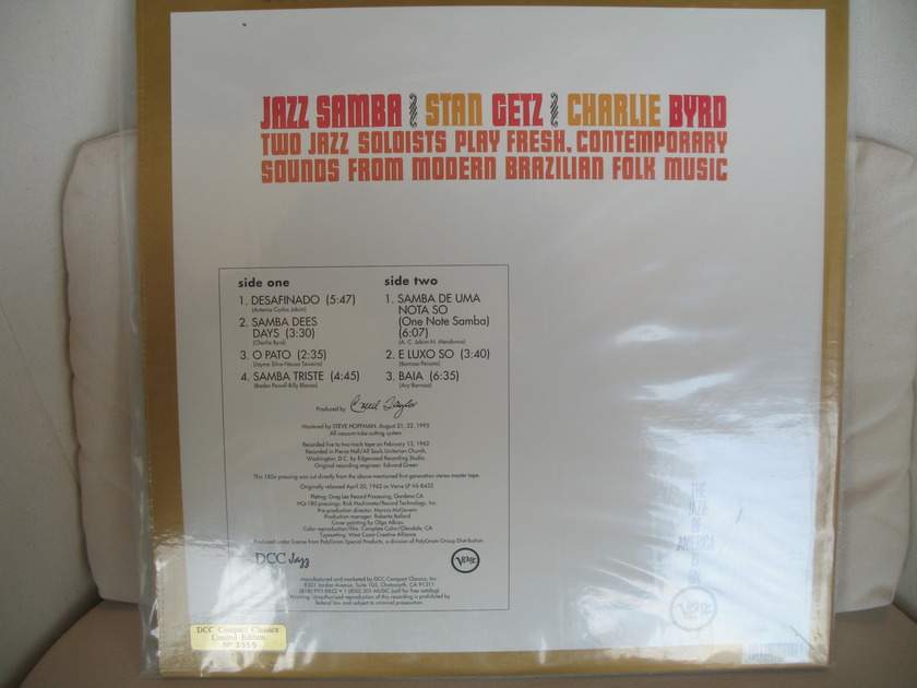 Stan Getz/Charlie Byrd - Jazz Samba DCC LPZ 2011>>>STILL SEALED<<<