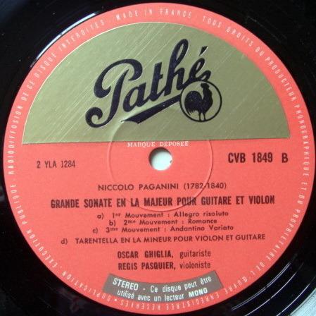EMI HMV SEMI-CIRCLE/ PASQUIER-GHIGLIA, - Paganini Sonatas for Violin & Guitar, NM!