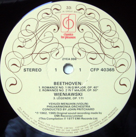 EMI CFP / MENUHIN-PRITCHARD, - Beethoven Romances No.1 & 2, NM!