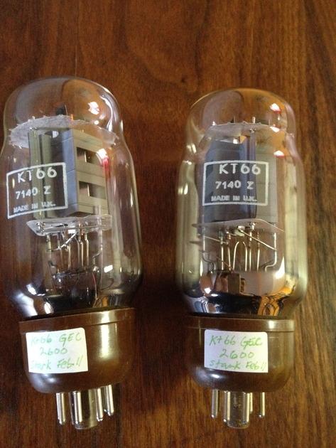 GEC tubes KT66  ( 6L6 ) pair testing new
