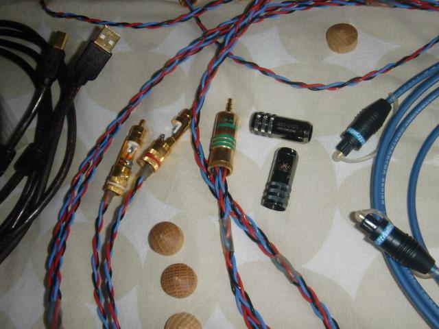 KIMBER PBJs with WBT connectors & B BUS high speed USB CABLE +ULTRALink optical cable & Russ Andrews mini OAK cone feet/ mini-midi & computer audio hi fi combo bargain!!!