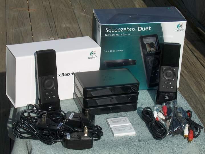 Logitech Squeezebox Duets (2-1/2 of 'em). Two controllers, three receivers. Plus bonus.