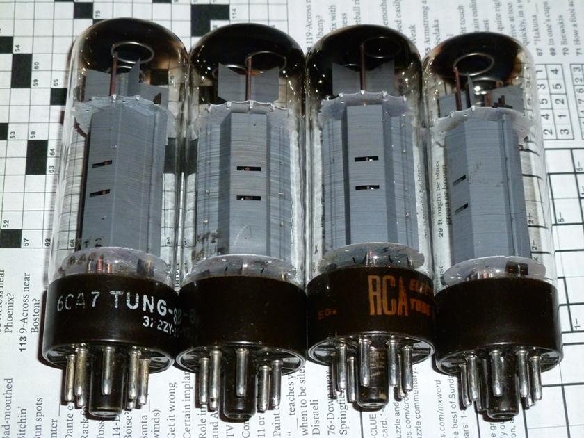 6CA7/EL34 quad of XF2  brown-base tubes Tung-Sol, RCA