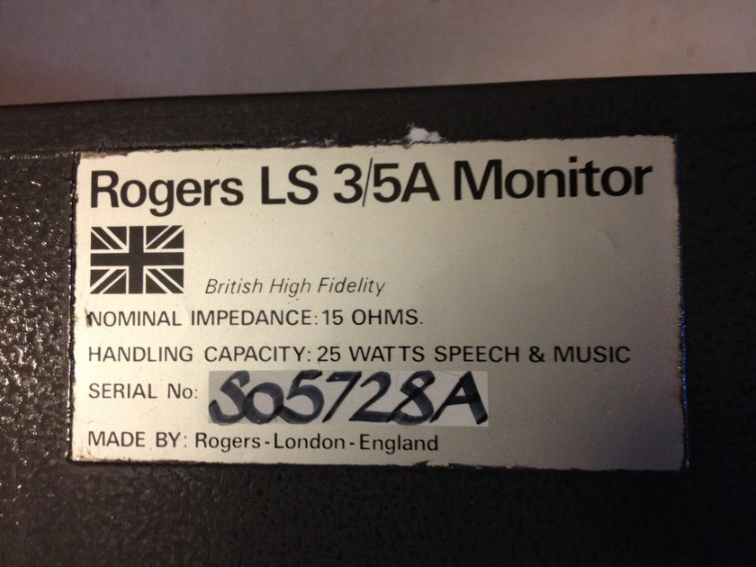 Roger LS3/5a  Rogers BBC LS3/5a 15 Ohm speakers