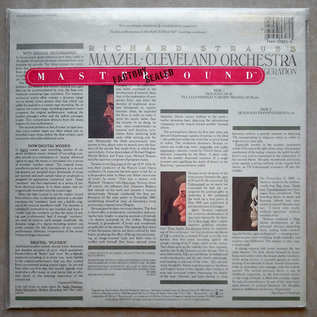 Sealed CBS Digital | MAAZEL/STRAUSS - Don Juan, Till Eulenspiegel, Death and Transfiguration / Promo copy - Audiophile Pressing