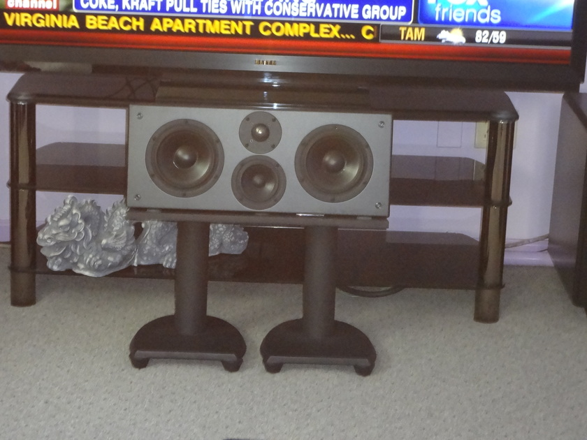 Aerial Acoustics 7B and CC3B center w stands Satin Black