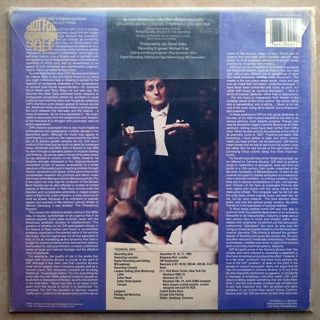 Sealed RCA Digital   MATA/ORFF - Carmina Burana / German Pressings - Promo Copy