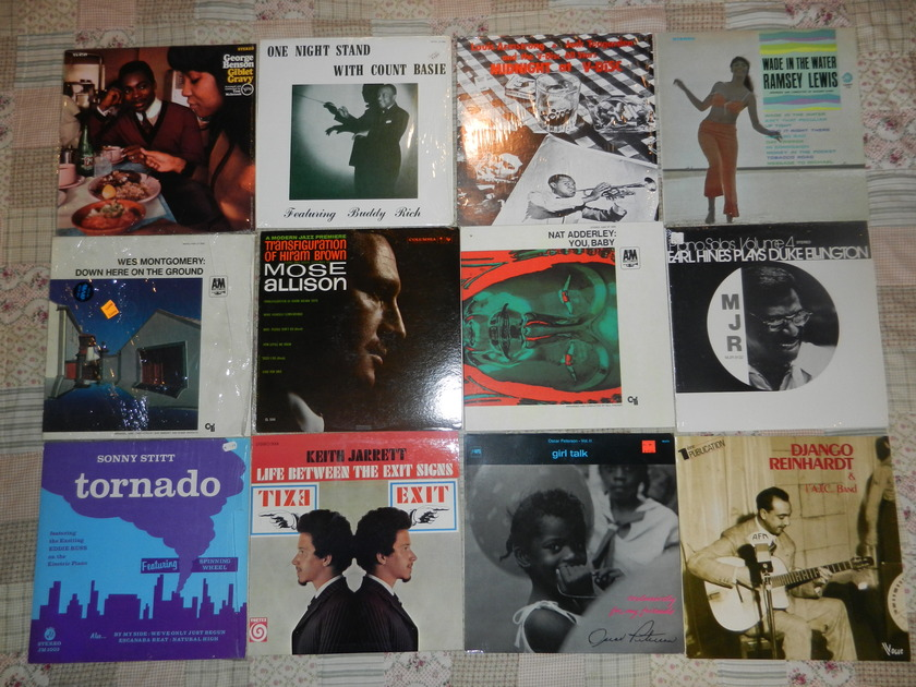 13 LPs Jazz LP Lot Oscar Peterson Ramsey Lewis Sonny Stitt Allison Mose - Earl Hines Nat Adderley Count Basie Louis Armstrong Keith Jarrett RARE [8/10 and higher]